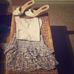 Full outfit! Includes shirt, (S) which is cotton with cute colored flecks and blue trimming. Cute blue and pink floral skirt with layered ruffles. (S mini) and wedge shoes sided 8. Feel free to offer for separate items! Forever 21 Skirts Mini