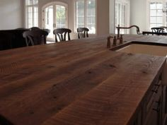 reclaimed Oak beams were used to make this beautiful island top. The patina of each piece was carefully preserved to enhance the natural antique appearance. The top was finished with Hardwax Oil in natural color. Kitchen Tops, Kitchen Island, Reclaimed Kitchen, Patina Color, Oak Island, Red Oak, Beautiful Islands, Beams, Countertops