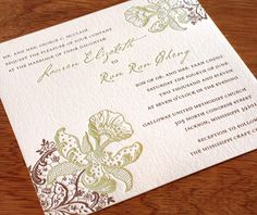 Orchid looks rustic and chic with brown and sage ink colors printed on ecru, 100% cotton paper.