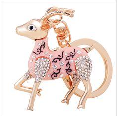 Gold Plated Rhinestone Hollow Goat Sheep Keychain Keyring Fashion Crystal Metal Key Chain for Women Men Purse Charm Pendant(China (Mainland))