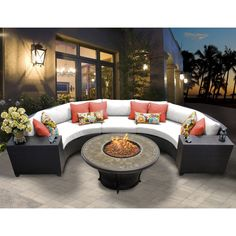 Outdoor TK Classics Barbados Wicker 6 Piece Patio Conversation Set with Cup Table and 2 Sets of Cushion Covers Sail White