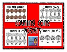 Skip counting posters for pennies, nickels, dimes, and quarters.  Help your students learn how to count LIKE groups of coins.  A great addidtion to...