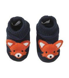 HEMA baby jongens slofjes – TE cute, voor bij het broekje en vestje met dezelfde vosjes