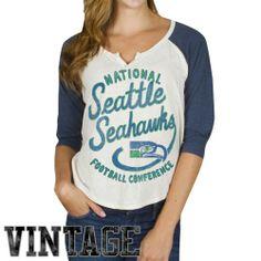 NFL Nike Seattle Seahawks Ladies Stamp It Raglan T-Shirt - Ash/College Navy