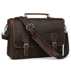 Men's Vintage Cow Real Leather Briefcase Messenger Bag Laptop Case Crossbody Bag Vintage Leather Messenger Bag, Messenger Bag Men, Leather Briefcase, Laptop Briefcase, Laptop Bags, Leather Work Bag, Real Leather, Cowhide Leather, So Little Time