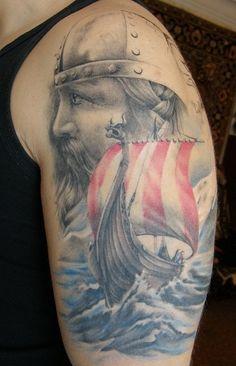 Dramatic ship and warrior tattoo Viking Ship Tattoo, Viking Warrior Tattoos, Viking Tattoo Design, 4 Tattoo, Armor Tattoo, Norse Tattoo, Vikings, Great Tattoos, Beautiful Tattoos