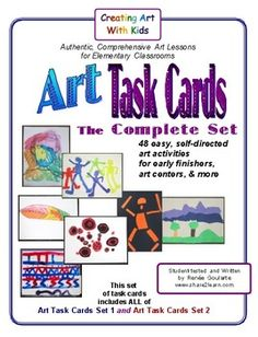 Art Task Cards, The Complete Set -- 48 art activities ... Set 1 and Set 2 combined:  elements of art, drawing, collage, symmetry, painting, overall composition.