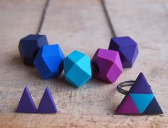 Purple Rain Gift Set?  Matching geo handmade earrings, ring and necklace? OH MY!