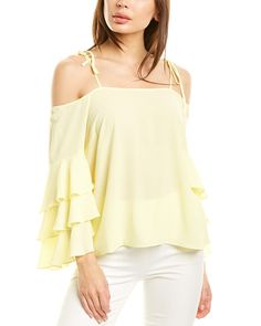 Types Of Sleeves, Sleeve Types, Shoulder Straps, Off The Shoulder, Lemon Cream, Flutter Sleeve, Vince Camuto, Color Patterns, Luxury Fashion