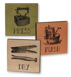 Vintage-Look-Laundry-Room-Block-Signs-Wash-Dry-Press-Set-of-3-New