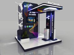 Nokia - Asha Booth - by Hossam Khattab, via Behance Exhibition Display Stands, Exhibition Stall Design, Exhibition Space, Web Banner Design, Displays, Point Of Purchase, Display Design, Stage Design, Marketing