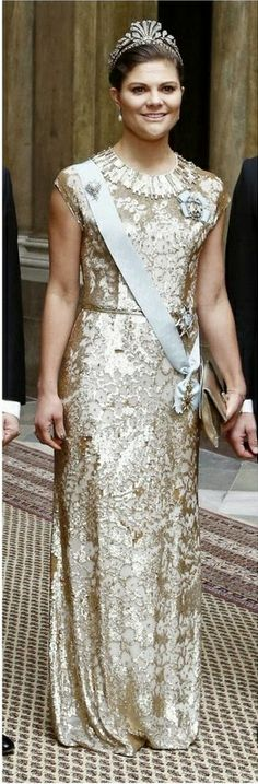 Crown Princess Victoria in Jenny Packham dress as she attended an official dinner at the Royal Palace in Stockholm