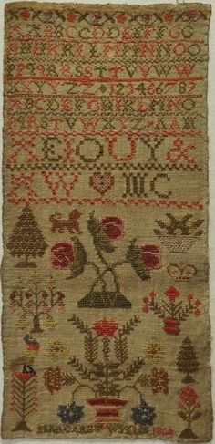 Early 19th Century Alphabet Motif Sampler by Margaret Wylie 1809 | eBay