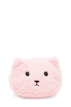 A faux fur makeup bag featuring a cat face design and a zip top closure. 6e88d540fe