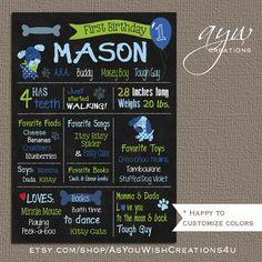 Dog Puppy Chalkboard Poster Boy  Dog by AsYouWishCreations4u
