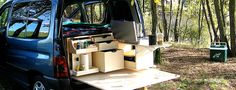 Turn your car into camper. A travel trunk for the trunk of your vehicle, with kitchen and bunk integrated implementation in less than 5 minutes. - Campinambulle
