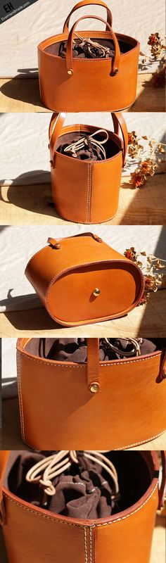 Handmade Leather bucket bag shopper bag for women leather handbag