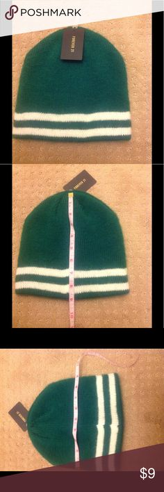 NEW Winter hat cap GO GREEN and stay warm with this hat! 100% acrylic. Measurements shown in pics are in inches Forever 21 Accessories Hats