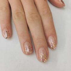 Gold Nail Art, Rose Gold Nails, Glitter Art, Rose Gold Glitter Nails, Gold Gel Nails, Clear Nails With Glitter, Acrylic Nails, Coffin Nails, Opi Nails