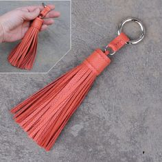 Large type -flamingo unique and chic hand stitched cowhide leather tassel key chain or bag charm-(pl Leather Accessories, Leather Jewelry, Leather Craft, Flamingo Color, Leather Tassel Keychain, Creation Couture, Leather Flowers, Leather Projects, Pom Poms