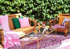 pretty seating area for a tiki themed bridal shower {via 100 Layer Cake}