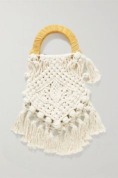 Off-white Lotus fringed macramé and wicker tote | Nannacay | NET-A-PORTER Diy Net Bags, Fall Arts And Crafts, Dinosaur Design, Crochet Tote, Macrame Bag, Bracelet Designs, Handmade Bags, Straw Bag, Off White