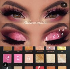 A stunning pink look using the Huda Beauty Rose Gold Palette Remastered - Huda Beauty Eyeshadow Palette, Huda Beauty Rose Gold Palette, Gold Eyeshadow, Eyeshadow Makeup, Huda Palette, Eye Makeup Steps, Smokey Eye Makeup, Maquillaje Huda Beauty, Maquillage Or Rose