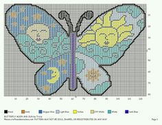 Butterfly moon and sun Butterfly Cross Stitch, Cross Stitch Bird, Beaded Cross Stitch, Cross Stitching, Cross Stitch Patterns, Plastic Canvas Tissue Boxes, Plastic Canvas Crafts, Plastic Canvas Patterns, Plastic Board