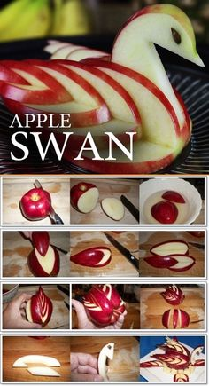 Apple Cutting Hack - 5 Apple Cut Tutorials Apple Cutting Hack - 5 Apple Cut Tutorials <br> These ideas of serving apples will surely catch your guests eyes, even little ones. Swan layout Crab layout ---- More DIY Ideas ---- puzzle Hello Kitty Rabbit L'art Du Fruit, Fruit Art, Fruit Decorations, Food Decoration, Food Crafts, Diy Food, Food Tips, Food Food, Apple Swan