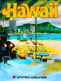 Hawaii by Airplane United States America Vintage Travel Advertisement Poster