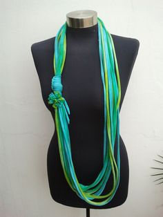 spring summer  ocean colored recycle scarf,necklace-scarf-Womens scarves - loop  scarf-Infinity scarf-fashion fabric-t shirt scarf. $33.00, via Etsy.