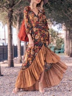 Fashion Prints, Boho Fashion, Fashion Dresses, Maxi Dresses, Long Dresses, Cheap Dresses, Womens Swing Dress, Vestidos Retro, Style Floral