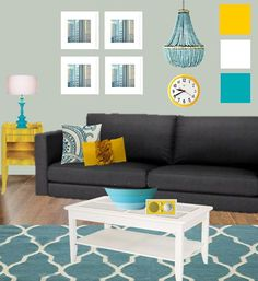 living room moodboard with teal and yellow.  We could think about teal and yellow with the black furniture