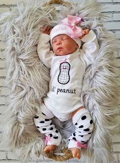 Lil Peanut Baby Girl Set - Name Baby Girl - Ideas of Name Baby Girl - cotton embroidered body suit lil peanut baby girl take home bodysuit and leg warmers with personalized cap available with either long or short sleeves. Newborn Fashion, Baby Girl Fashion, Baby Outfits, Baby Dresses, Baby Pictures, Baby Photos, Baby Boys, Lil Baby, Baby Leg Warmers