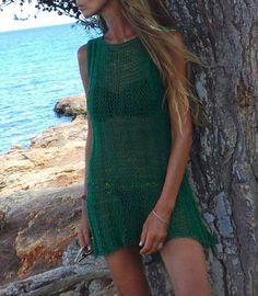 Green Cotton knit dress cover up beach dress cotton by ileaiye