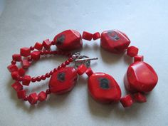 Red and Black CHUNKY Coral Necklace beach by MoonlightMartini