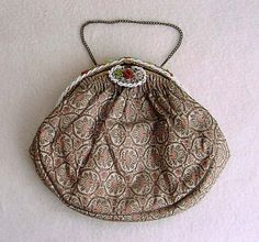 French Gold Brocade Purse Beaded Frame Evening by Kissisjustakiss