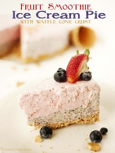 Perfect summer treat! fruit smoothie ice cream pie with waffle cone crust #icecream #smoothie #fruit www.KristenDuke.com