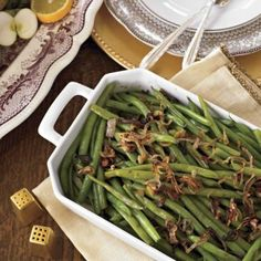 Soy-Glazed Green Beans with Crispy Shallots! Photo Credit: Heath Robbins   Find more traditional side dishes with a twist: http://www.yankeemagazine.com/article/food/thanksgiving-recipes-updated