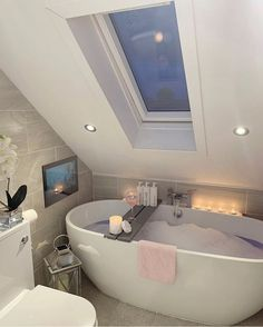Bathroom Decor grey pinkpeonyhome bathroom is just pure ! Featuring the darker grey painted bathboard . Small Attic Bathroom, Tv In Bathroom, Bathroom Interior, Bathrooms, Bad Inspiration, Bathroom Inspiration, In Law House, Ideal Home, House Design