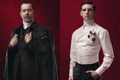 Steampunk Prada - Actors Gary Oldman and Jamie Bell (L-R) model the steampunk-inspired Prada 2012 Fall/Winter Menswear Collection.
