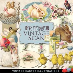 Freebies Vintage Easter Vignettes:Far Far Hill - Free database of digital illustrations and papers