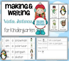 Making and Writing Winter Sentences for Kindergarten {vocab & sentence work}$