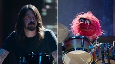 Dave Grohl and The Muppets' Animal have an epic drum-off to see who's better, complete with shattering drumsets and falling hi-hats.