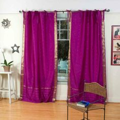 Indo Violet red Tie Top Sari Sheer Curtain (43 in. x 84 in.) by Indian Selections. $28.83. Sold per piece. Sheer design. Polyester Sari fabric. Curtain measures 43 inches wide x 84 inches high. Weaved on a handloom. Tie Top Curtains are popular for their casual and informal style that they create, and the simplicity of design. These fresh and light curtains add a delicate and decorative look to your windows and doors. Soft and semi sheer, they add just enough cover to y...