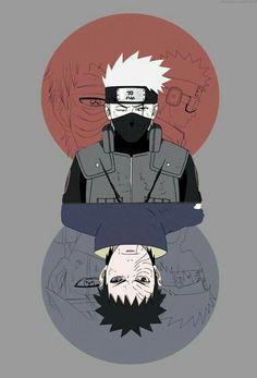 Obito and Kakashi - Naruto Shippuden Naruto Kakashi, Anime Naruto, Naruto Shippuden Sasuke, Naruto Fan Art, Gaara, Naruto Wallpaper, Wallpaper Naruto Shippuden, Orochimaru Wallpapers, Japon Illustration