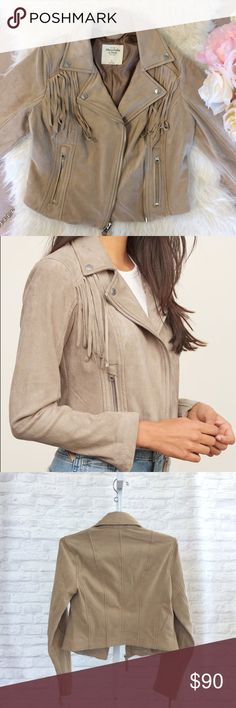 Fringe Vegan Suede Jacket Love this jacket - SO soft. Debating on keeping, slightly small for me in the shoulders though. NWT so perfect for fall! Abercrombie & Fitch Jackets & Coats