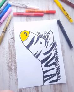 zeichnung How to draw tutorial for beginners. Learn how to draw with easy step by step instructions to learn how to draw zebra and flamigo and! Learn how to draw with Artistro art supplies. Art lessons, easy drawing ideas for kids, craft ideas for kids Kids Crafts, Arts And Crafts, Paper Crafts, Wood Crafts, Baby Crafts, Fabric Crafts, Kids Art Galleries, Paint Pens For Rocks, Point Paint