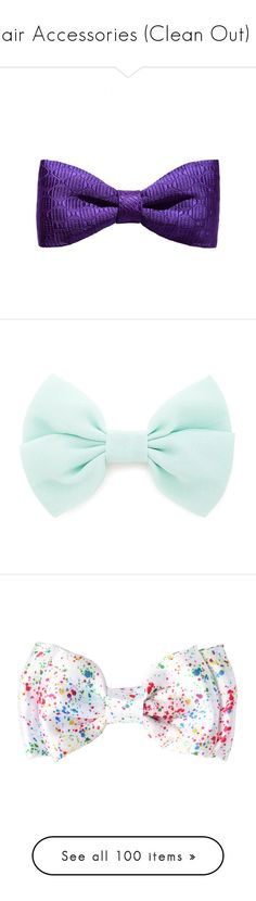 """Hair Accessories (Clean Out) 1"" by dev-lynn ❤ liked on Polyvore featuring accessories, hair accessories, bow, hair, hats, purple, purple hair accessories, bow hair accessories, mint and hair clip accessories"