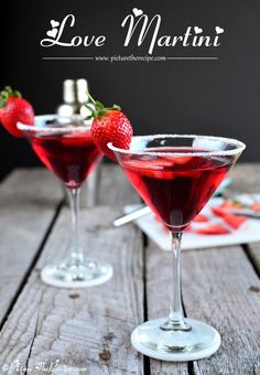 Love at first sip! This sweet and fruity cocktail is perfect for a Valentine's Day celebration. Love Martini (Cocktail)- PictureTheRecipe.com